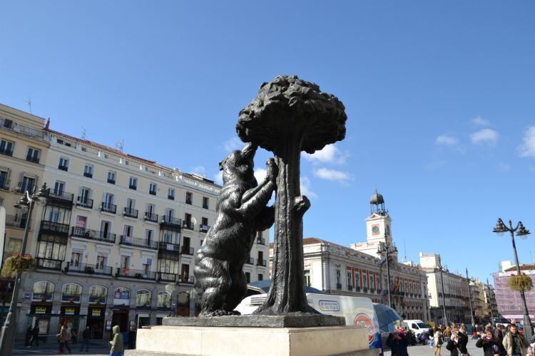 The statue of the Bear and the Strawberry Tree which are the symbols of Madrid