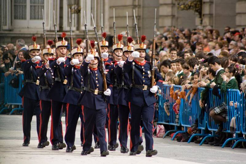 The changing of the guard at the Royal Palace of Madrid